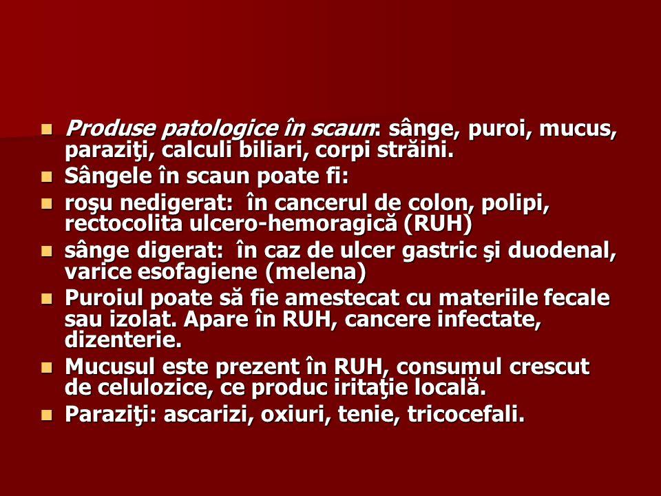 Produse patologice în scaun: sânge, puroi, mucus, paraziţi, calculi biliari, corpi străini.