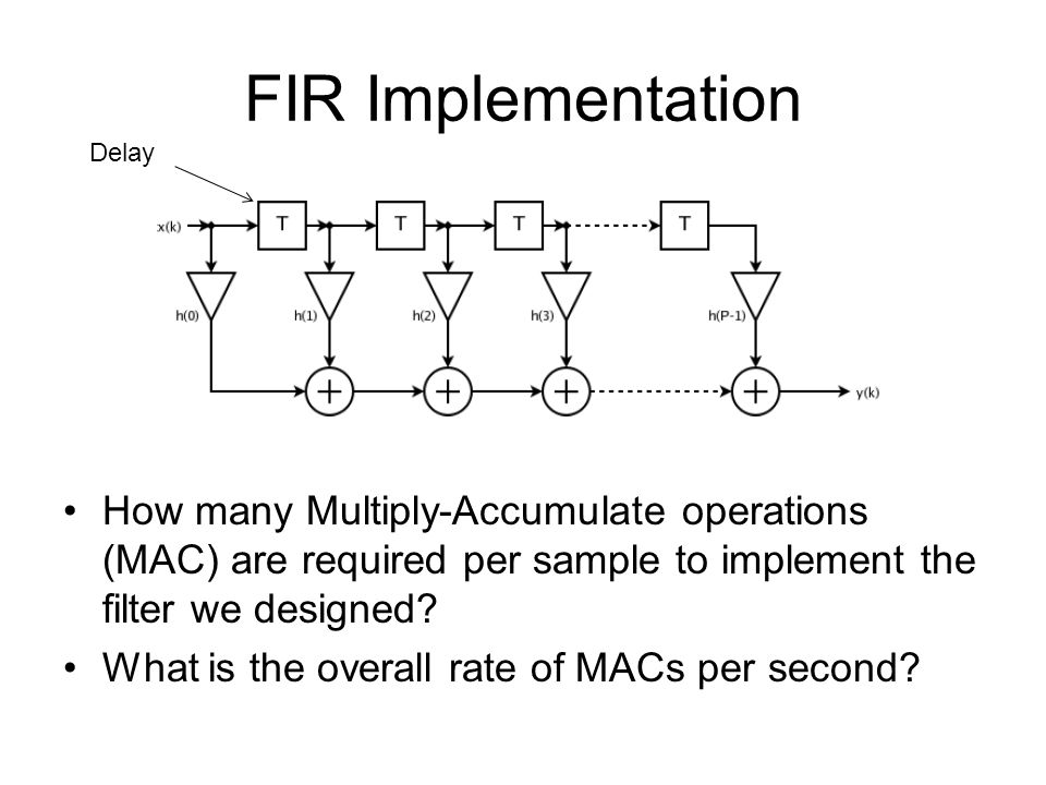 FIR Implementation Delay. How many Multiply-Accumulate operations (MAC) are required per sample to implement the filter we designed