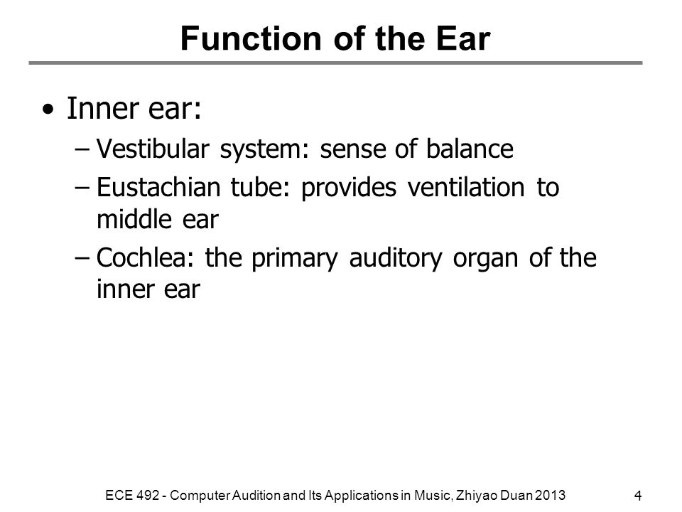 Function of the Ear Inner ear: Vestibular system: sense of balance