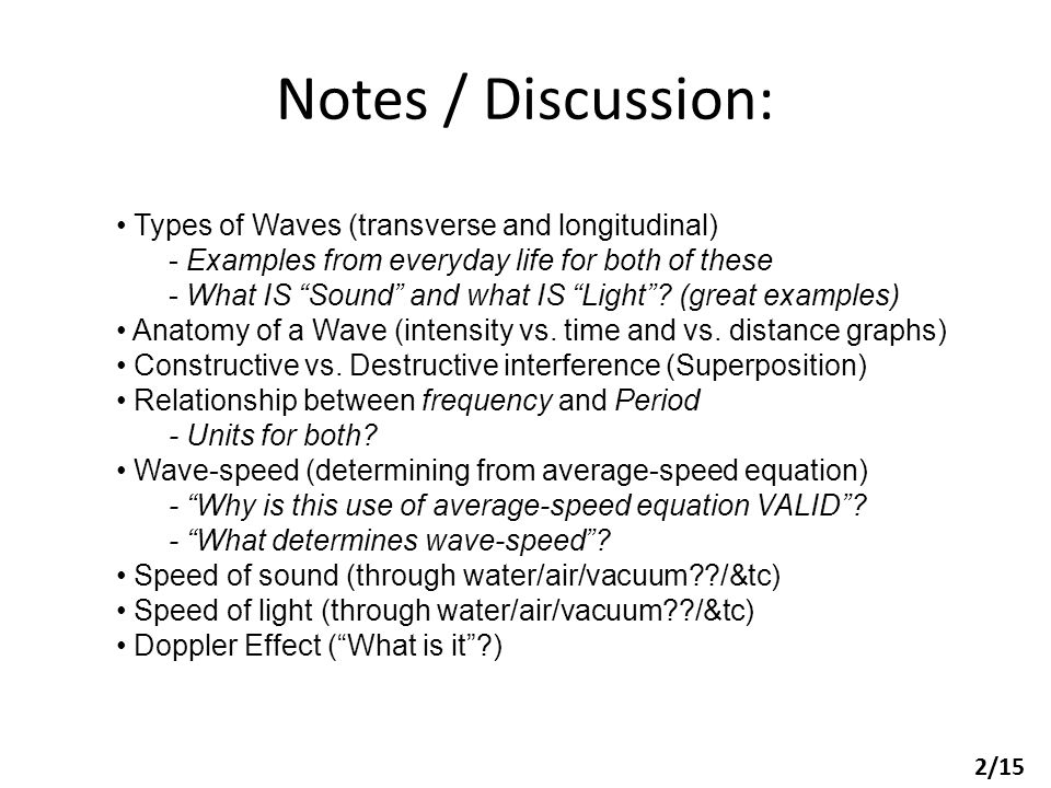Notes / Discussion: Types of Waves (transverse and longitudinal)