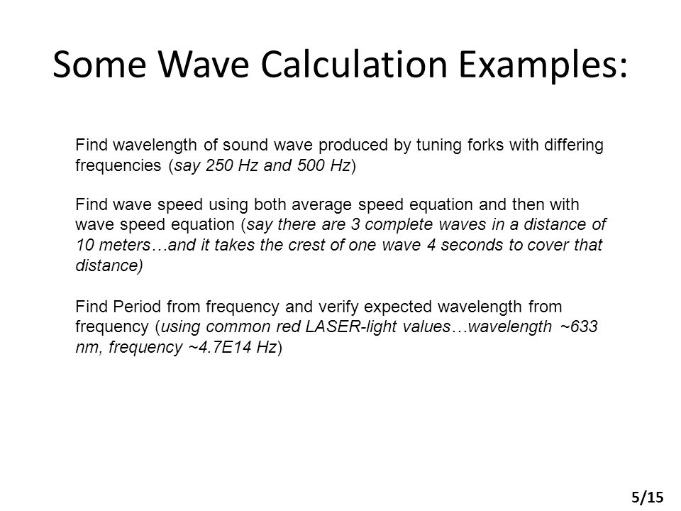 Some Wave Calculation Examples: