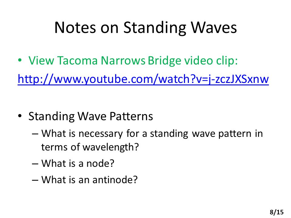 Notes on Standing Waves