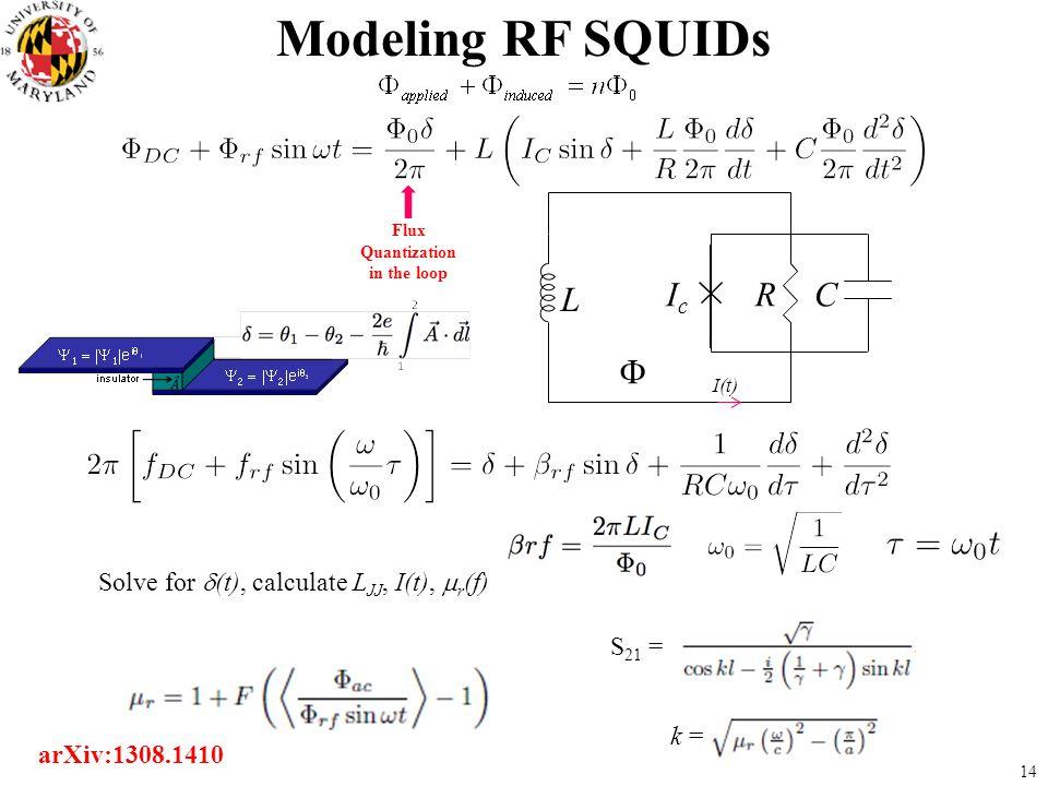 Modeling RF SQUIDs L LJJ R C Ic F