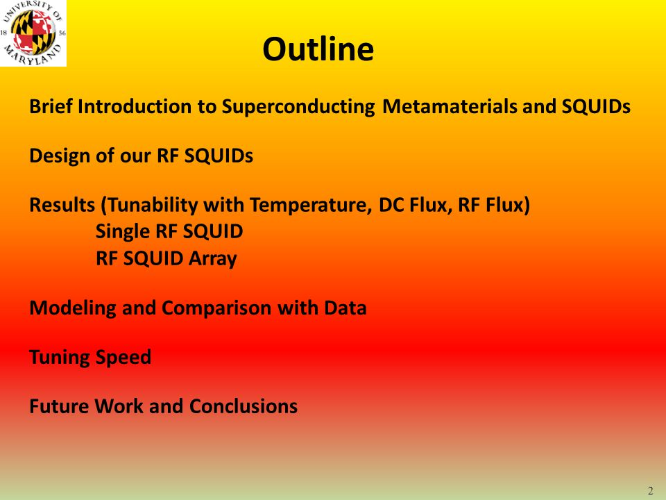 Outline Brief Introduction to Superconducting Metamaterials and SQUIDs