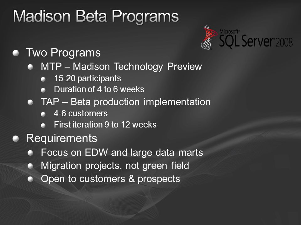 Madison Beta Programs Two Programs Requirements