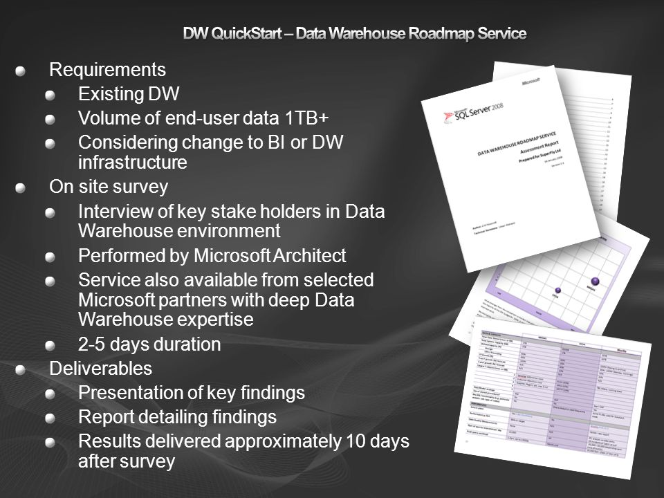 DW QuickStart – Data Warehouse Roadmap Service