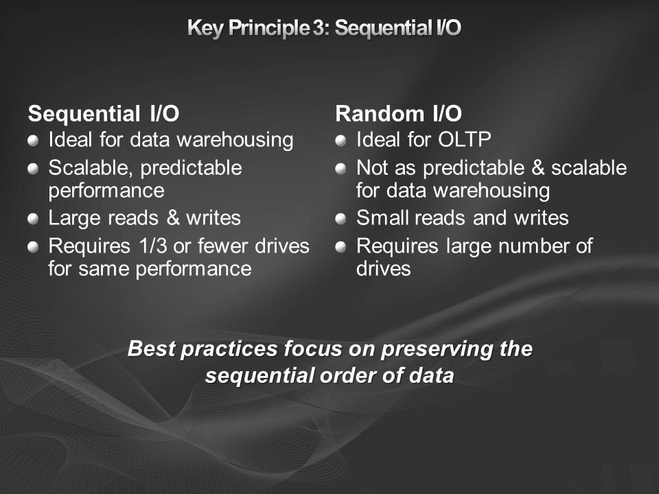 Key Principle 3: Sequential I/O