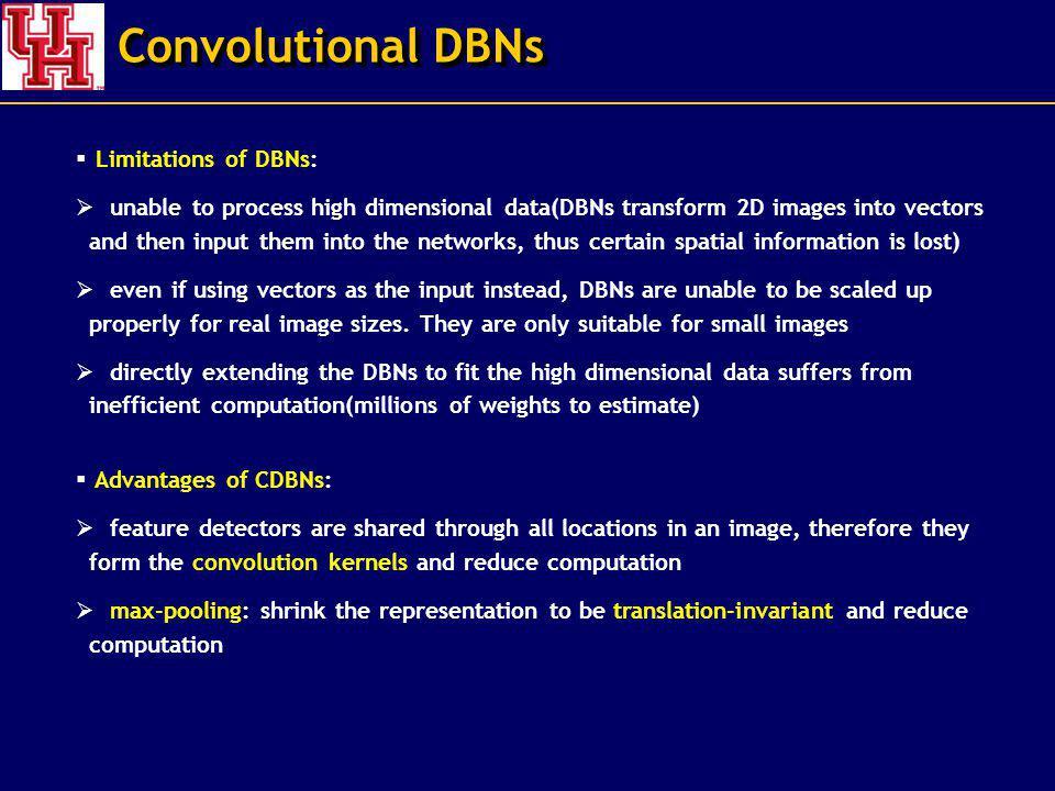 Convolutional DBNs Limitations of DBNs: