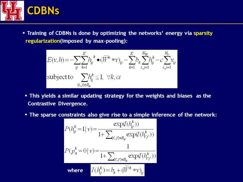 CDBNs Training of CDBNs is done by optimizing the networks' energy via sparsity regularization(imposed by max-pooling):