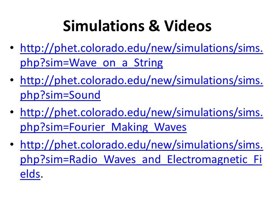 Simulations & Videos http://phet.colorado.edu/new/simulations/sims.php sim=Wave_on_a_String.