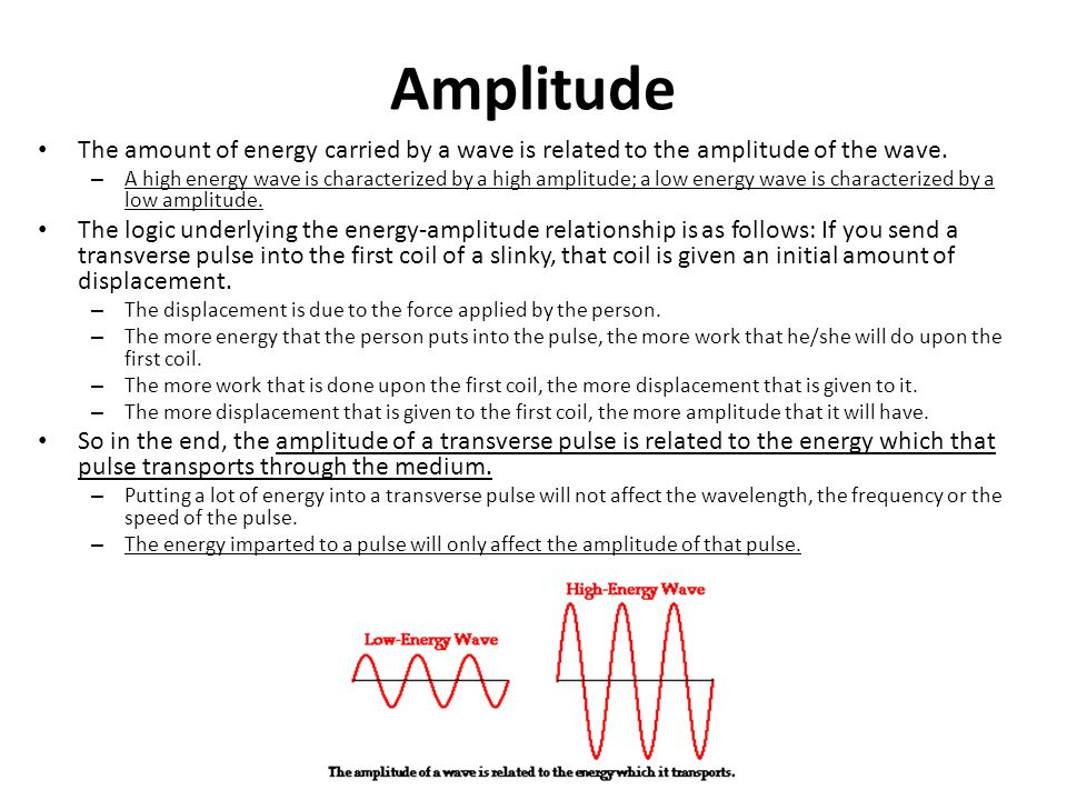 Amplitude The amount of energy carried by a wave is related to the amplitude of the wave.