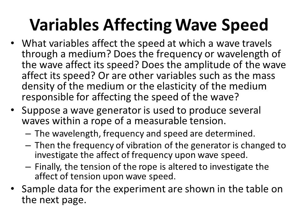 Variables Affecting Wave Speed