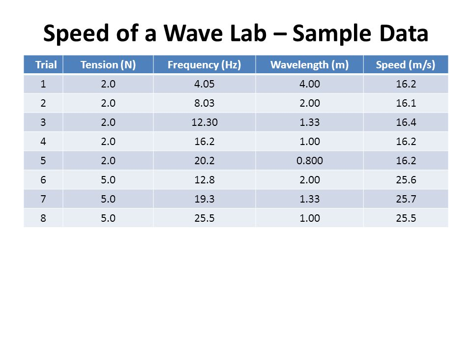 Speed of a Wave Lab – Sample Data