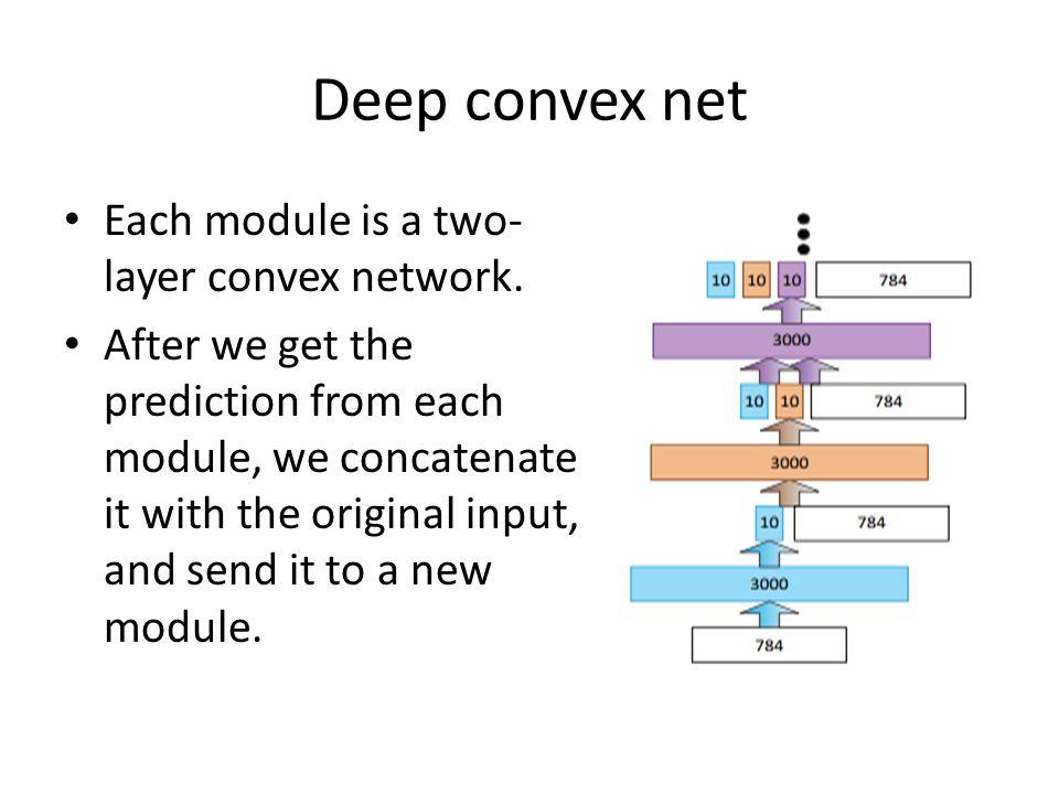 Deep convex net Each module is a two- layer convex network.