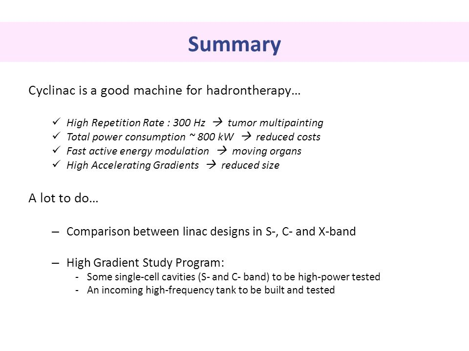 Summary Cyclinac is a good machine for hadrontherapy… A lot to do…