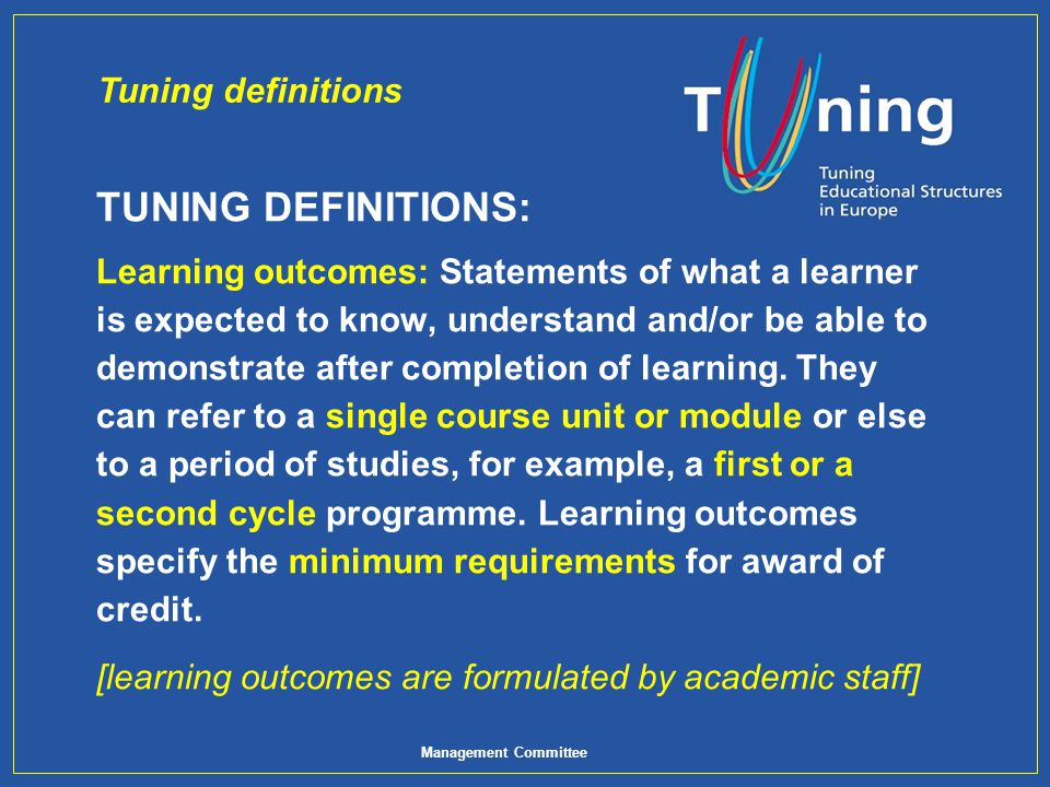 TUNING DEFINITIONS: Tuning definitions