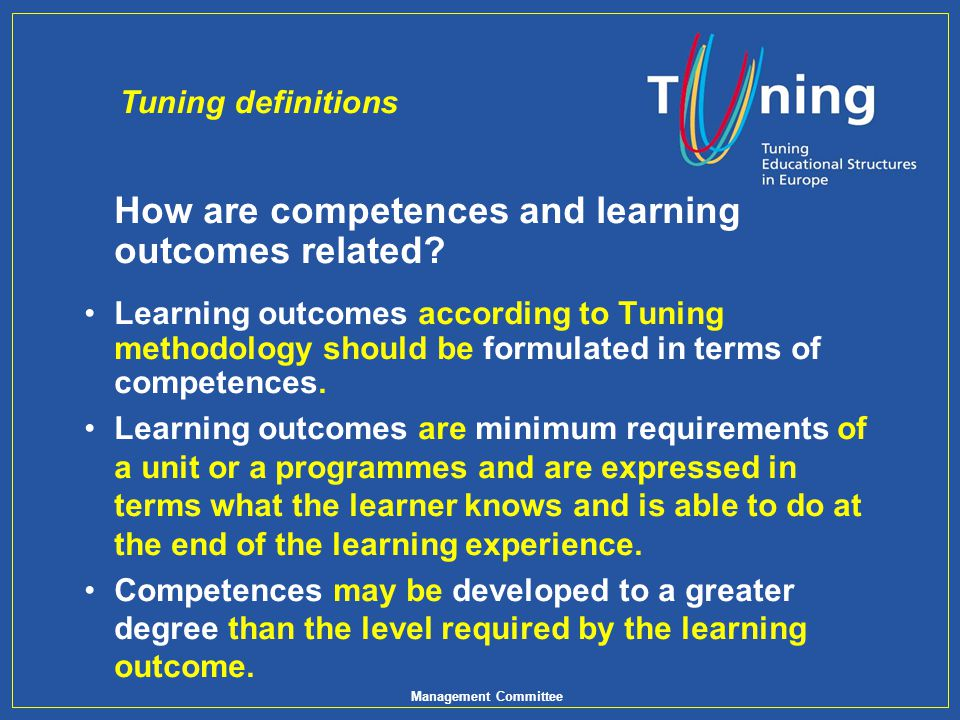 How are competences and learning outcomes related