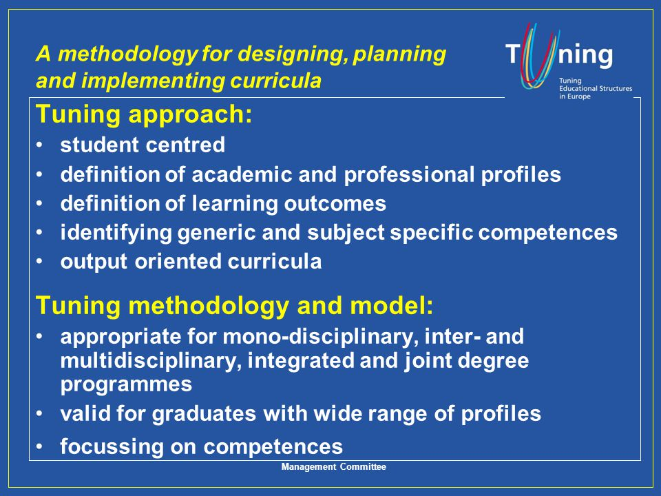 A methodology for designing, planning and implementing curricula