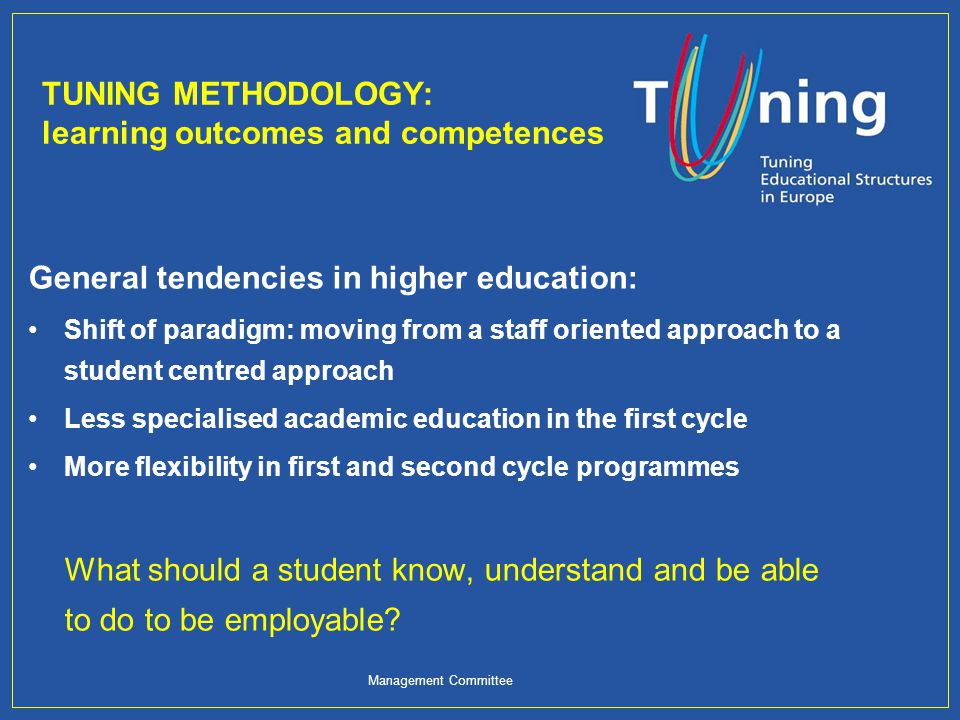 TUNING METHODOLOGY: learning outcomes and competences