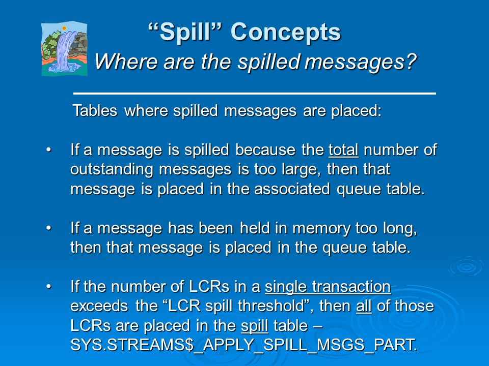 Spill Concepts Where are the spilled messages