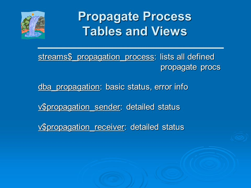 Propagate Process Tables and Views