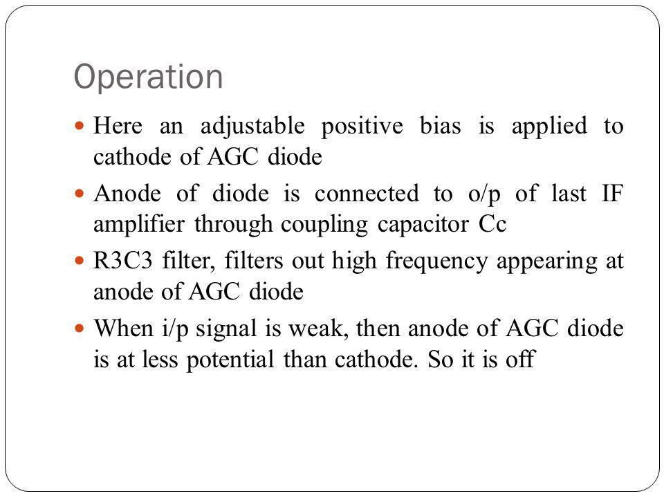 Operation Here an adjustable positive bias is applied to cathode of AGC diode.