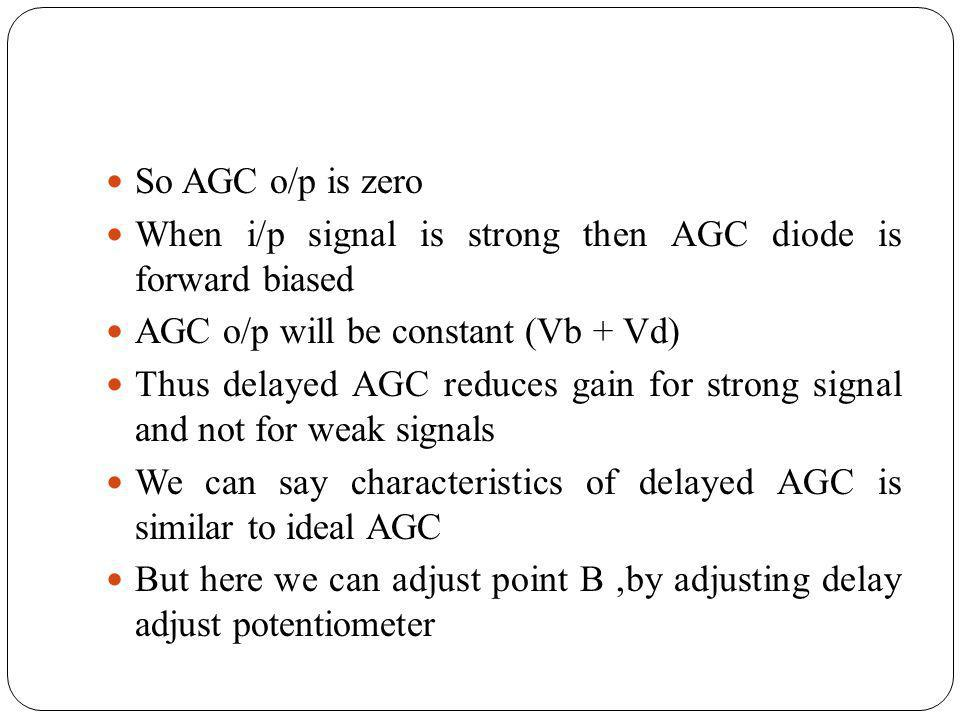 So AGC o/p is zero When i/p signal is strong then AGC diode is forward biased. AGC o/p will be constant (Vb + Vd)