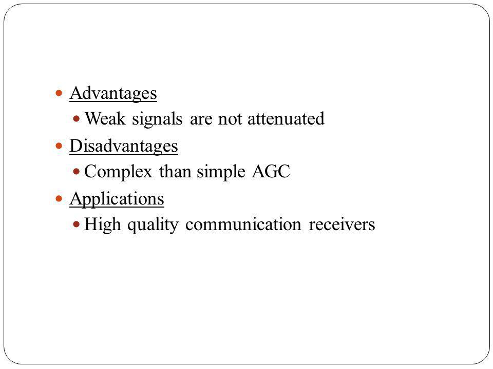 Advantages Weak signals are not attenuated. Disadvantages. Complex than simple AGC. Applications.