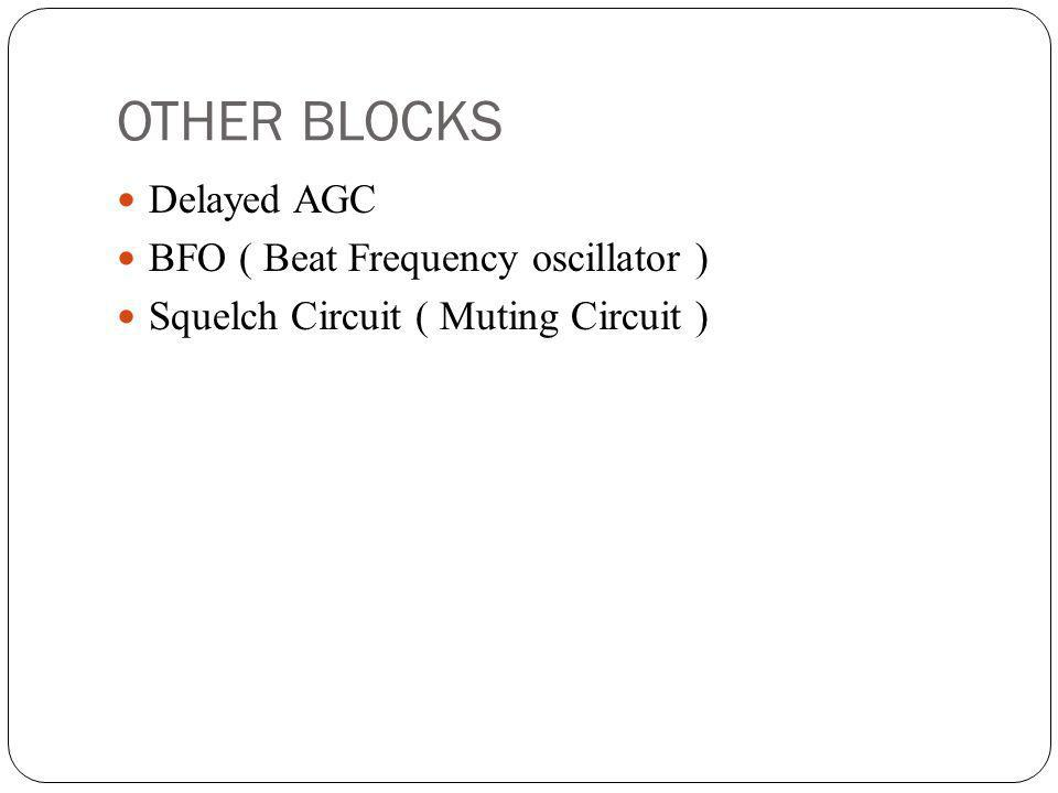 OTHER BLOCKS Delayed AGC BFO ( Beat Frequency oscillator )