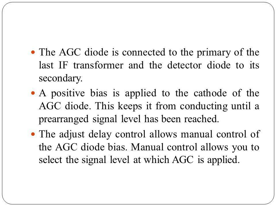 The AGC diode is connected to the primary of the last IF transformer and the detector diode to its secondary.