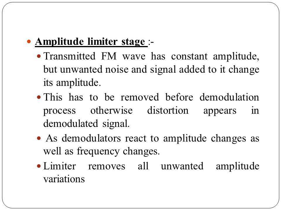 Amplitude limiter stage :-