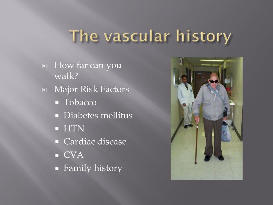 The vascular history How far can you walk Major Risk Factors Tobacco