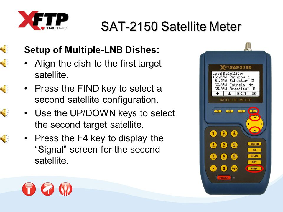SAT-2150 Satellite Meter Setup of Multiple-LNB Dishes: