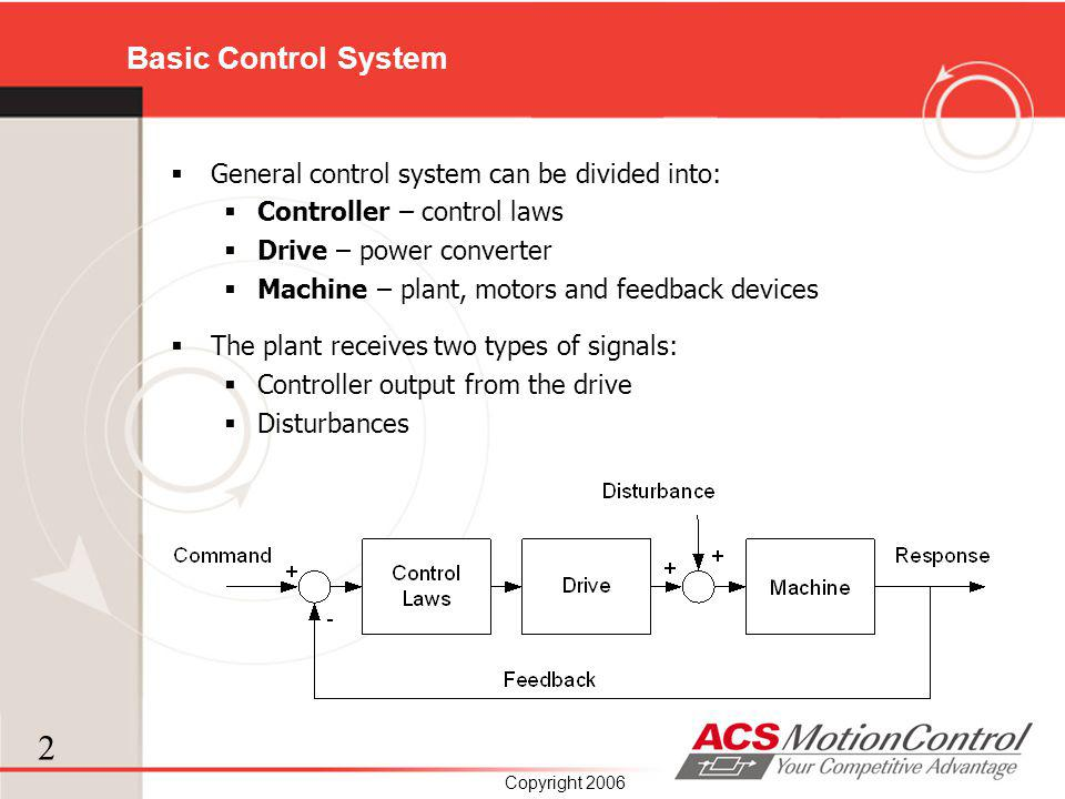 Basic Control System General control system can be divided into: