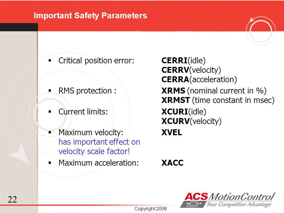 Important Safety Parameters