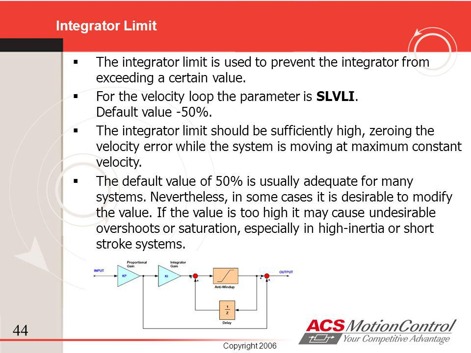 Integrator Limit The integrator limit is used to prevent the integrator from exceeding a certain value.