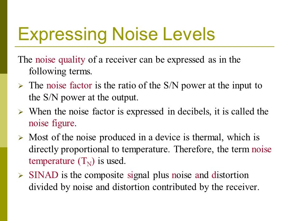 Expressing Noise Levels