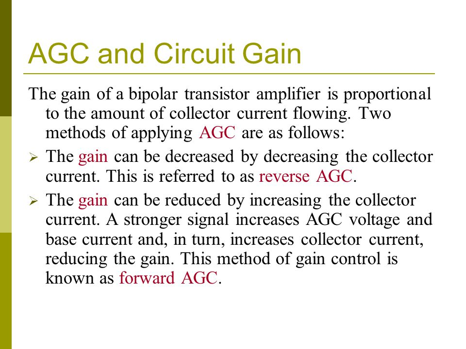 AGC and Circuit Gain