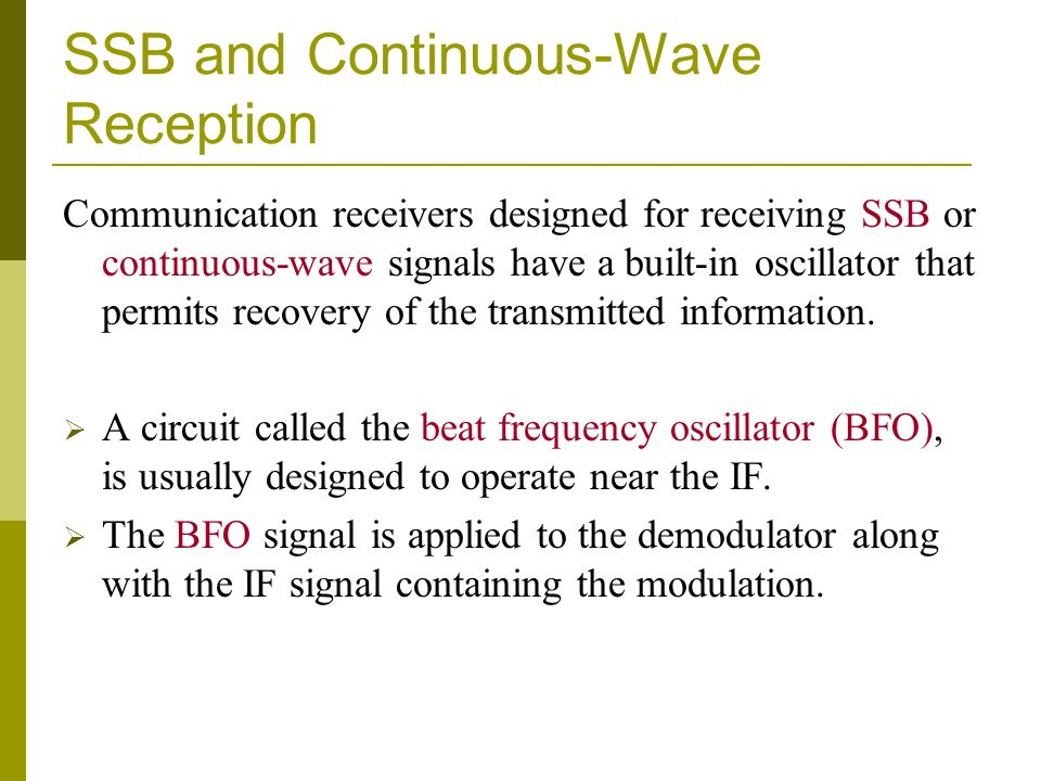 SSB and Continuous-Wave Reception