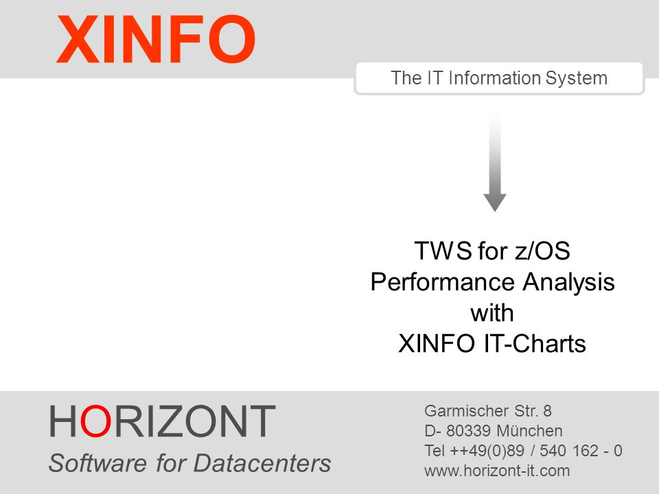 XINFO HORIZONT TWS for z/OS Performance Analysis with XINFO IT-Charts