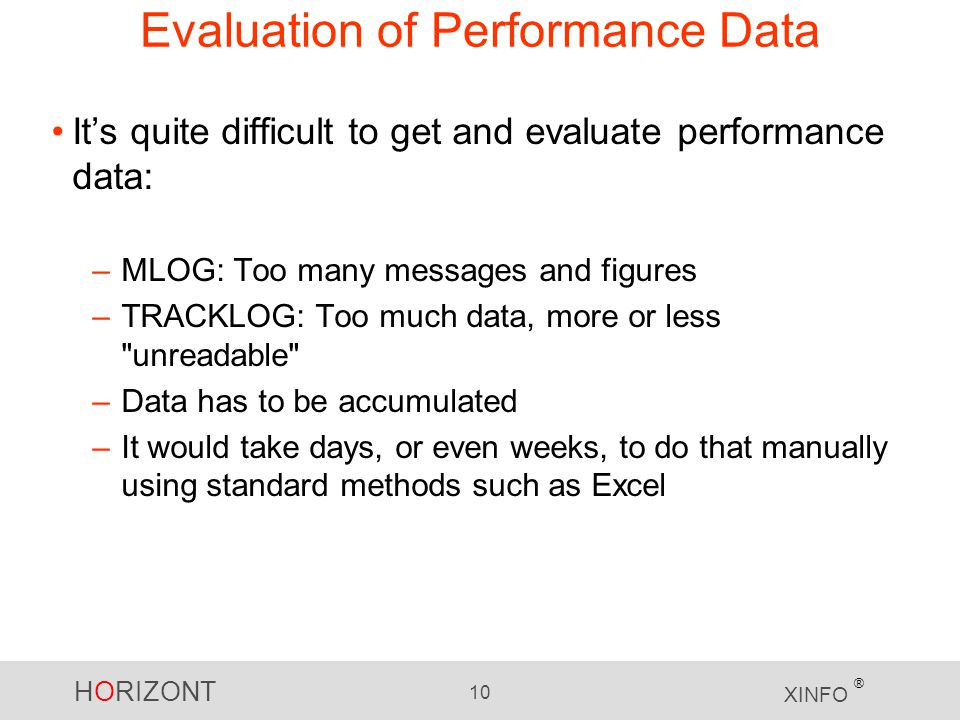 Evaluation of Performance Data
