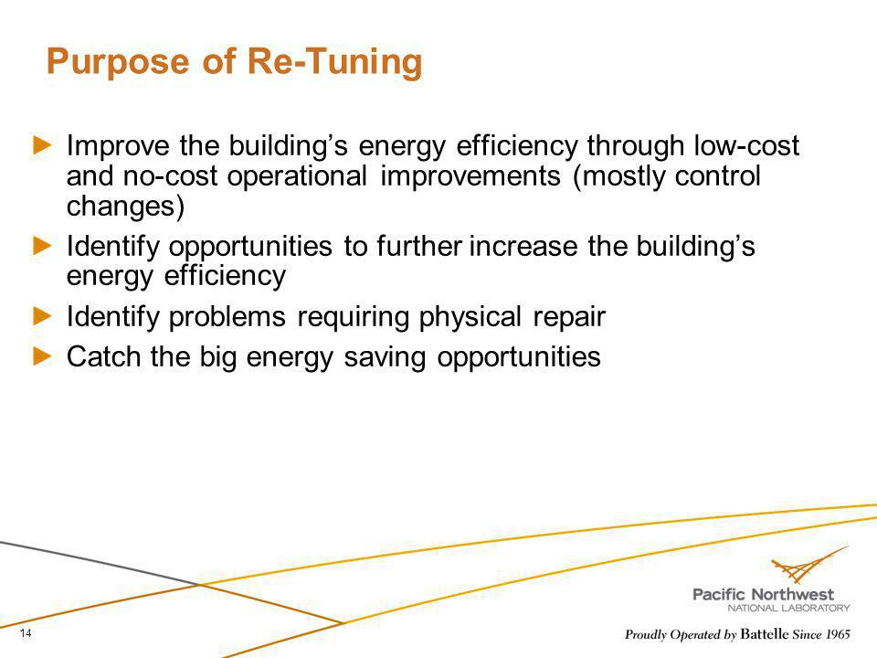 Purpose of Re-Tuning Improve the building's energy efficiency through low-cost and no-cost operational improvements (mostly control changes)