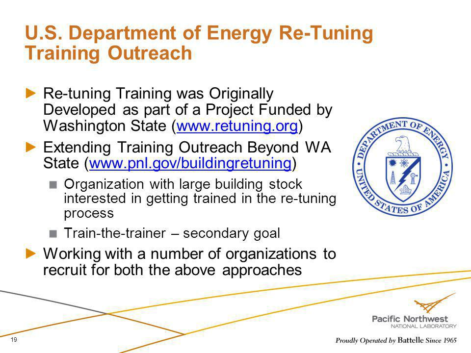 U.S. Department of Energy Re-Tuning Training Outreach