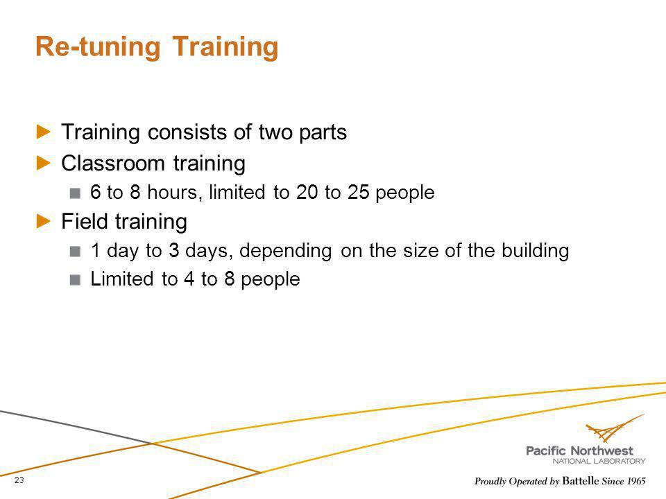 Re-tuning Training Training consists of two parts Classroom training