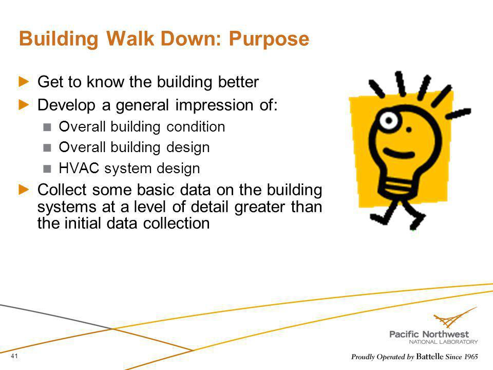 Building Walk Down: Purpose