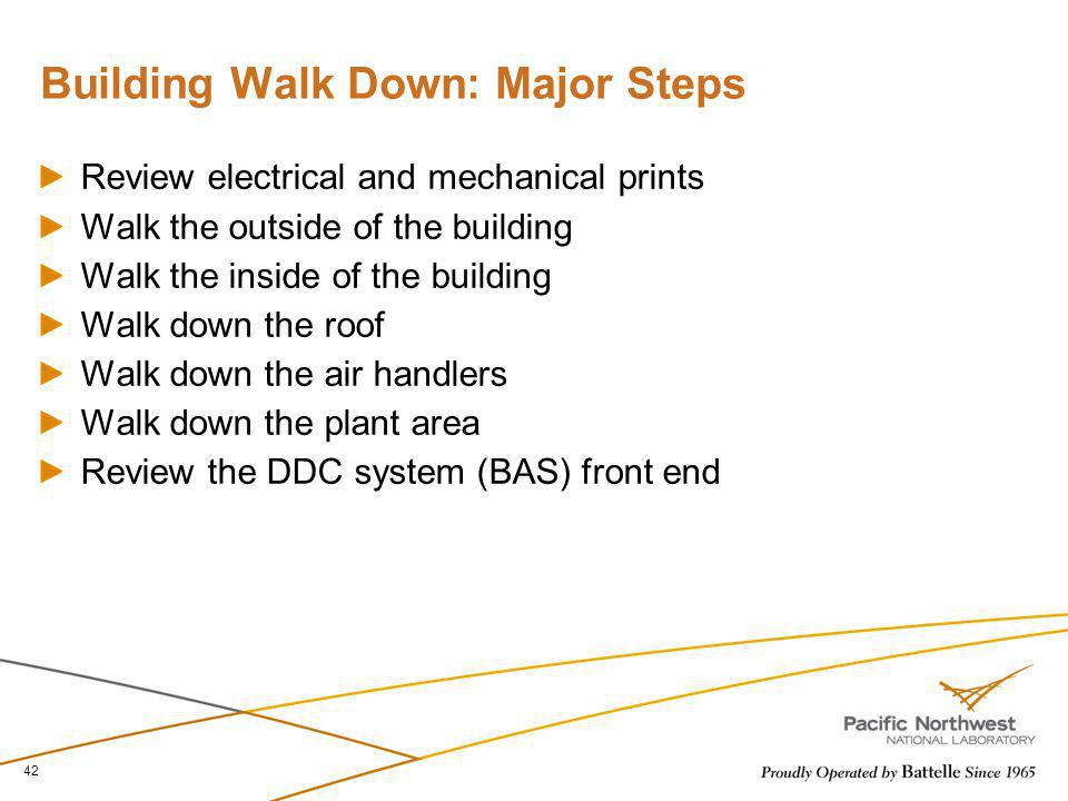 Building Walk Down: Major Steps