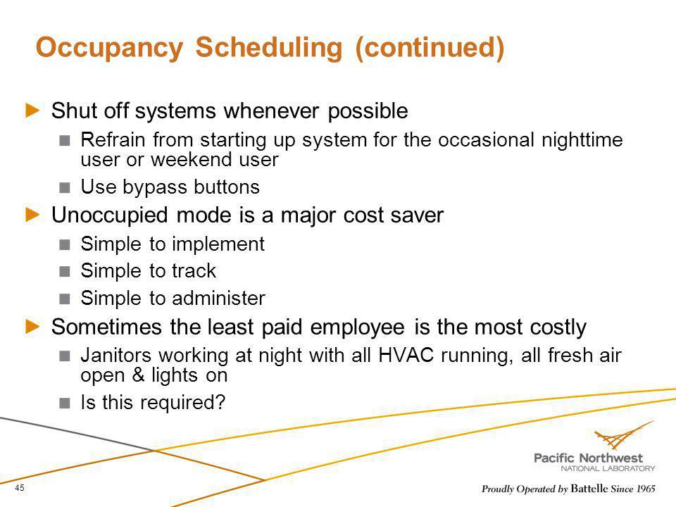 Occupancy Scheduling (continued)