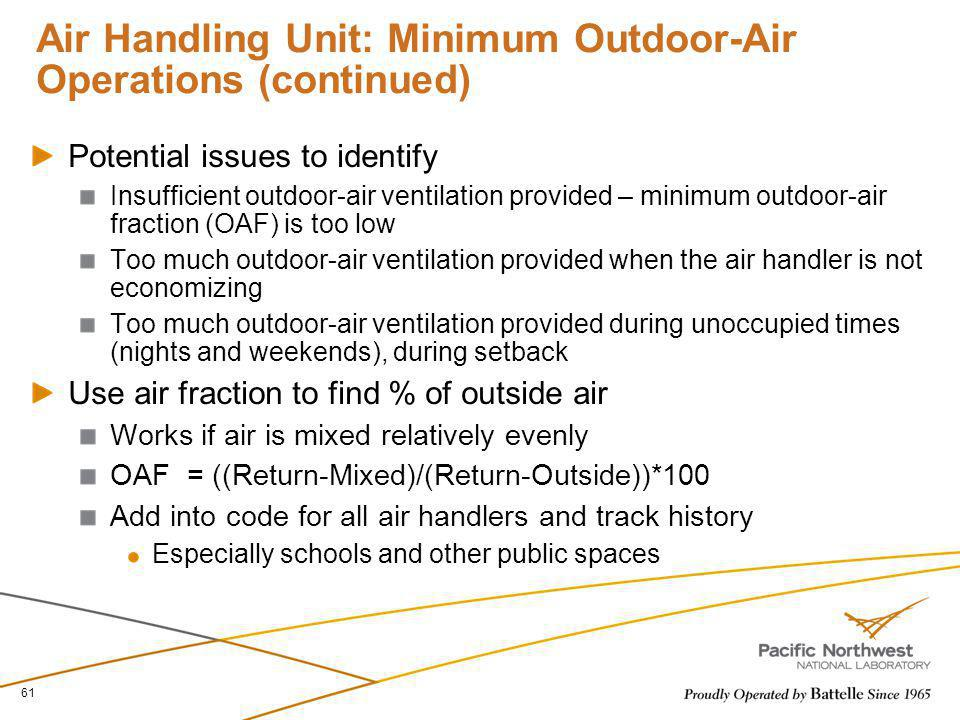 Air Handling Unit: Minimum Outdoor-Air Operations (continued)