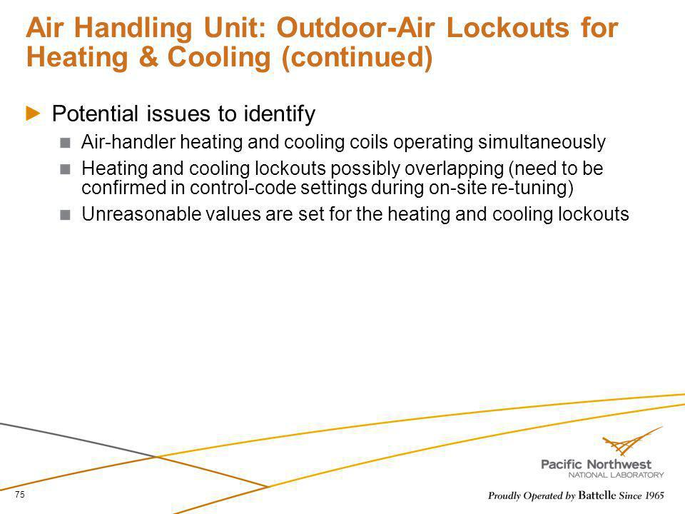 Air Handling Unit: Outdoor-Air Lockouts for Heating & Cooling (continued)