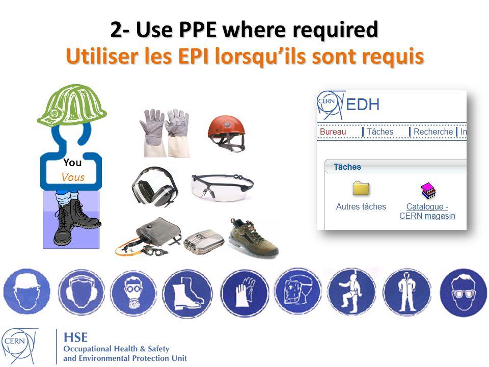 2- Use PPE where required Utiliser les EPI lorsqu'ils sont requis
